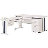KH淺灰色L型辦公桌櫃組(100x150)