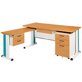SKD木紋L型辦公桌櫃組(100x150)