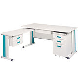 KD淺灰色L型辦公桌櫃組(100x150)