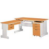 SHU木紋L型辦公桌櫃組(100x150)