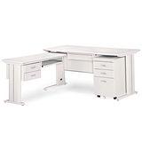 CD淺灰色L型辦公桌櫃組264-8(100x150)