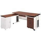 BMSA胡桃木紋L型辦公桌櫃組(100x150)