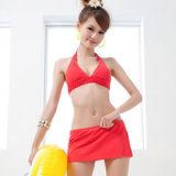 Kenneth Cole 美國品牌優雅編織比基尼泳裝褲裙款(紅色)