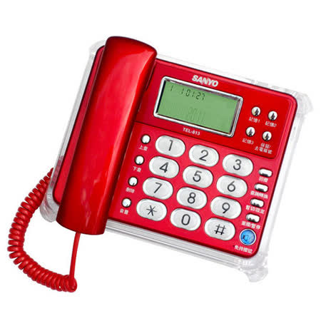 SANYO 三洋 TEL-813 來電顯示有線電話(紅)