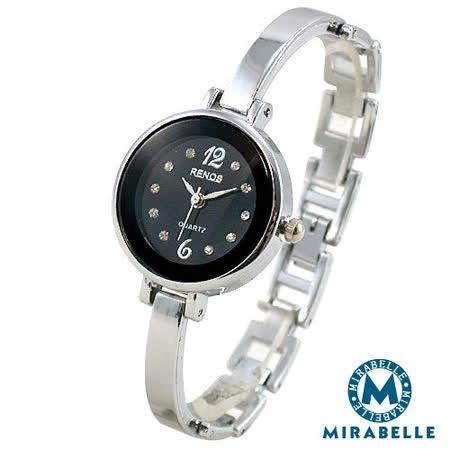 【Mirabelle】炫色晶耀*色框絲光鍊錶/黑