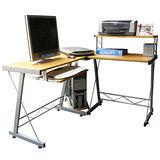 超大L型大桌面電腦桌/工作桌(楓葉紅)