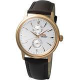 ORIENT 懷舊時光石英皮帶錶(玫瑰金框) FUW00002W