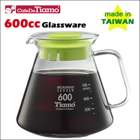 CafeDeTiamo 耐熱玻璃壺 600cc (綠色5杯份) 玻璃把手 (HG2297 G)