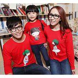 韓版秋款薄棉《模範家庭-紅色》長袖親子裝@三件組【預購款】
