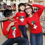 韓版時尚秋款薄棉《模範家庭-紅色》長袖親子裝@四件組【預購款】