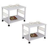 素雅白色邊桌2入(二款腳座可選)