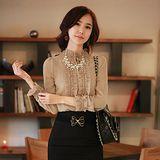 【韓系女衫】新款OL時尚甜美花邊修身長袖襯衫