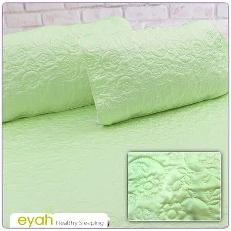 【EYAH宜雅】絲緞面立體花紋100%防水枕頭保潔墊(2入)-翡翠綠