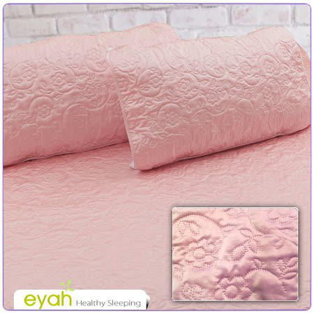 【EYAH宜雅】絲緞面立體花紋100%防水枕頭保潔墊(2入)-玫瑰粉
