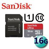 (公司貨) SanDisk Ultra MicroSDHC Class10 16GB 記憶卡-附SD轉卡
