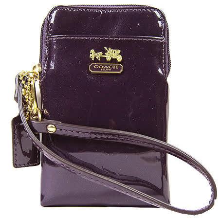 COACH MADISON 馬車漆皮亮面IPhone袋(紫)