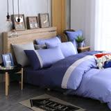 OLIVIA 《 英式素色簡約風  紫藍 銀灰 銀藍》加大雙人兩用被套床包四件組