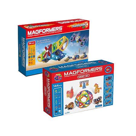 【Magformers】 磁性建構片144片裝+磁性建構片-變形組