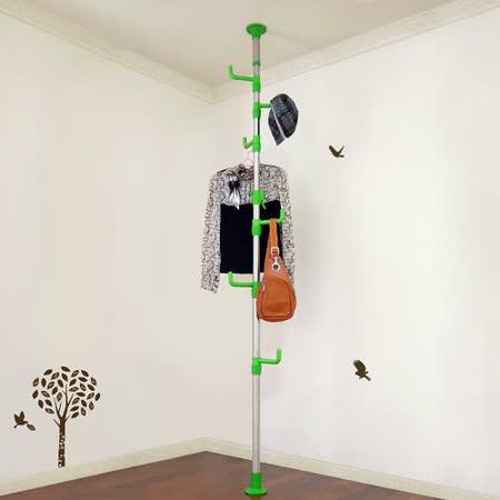 【LIFECODE】春樹頂天立地多用途衣帽架/包包架-綠色