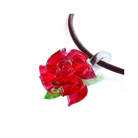 《伊飾童話》熱戀紅凡爾賽*光透玫瑰皮繩項鍊