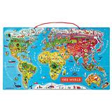 法國Janod - 磁鐵世界地圖木頭拼圖