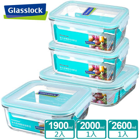 Glasslock強化玻璃微波保鮮盒 - 超值大容量4件組