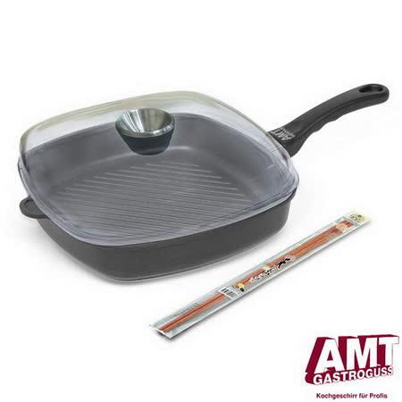 【德國AMT】單柄不沾平底鍋28CM方型+天然炸筷