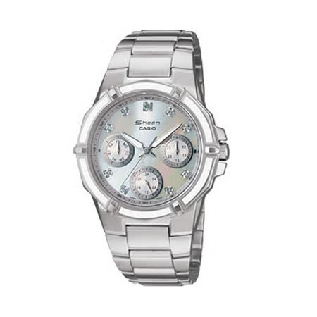 CASIO 三眼指針女性時尚腕錶 SHN-3015DP-7A