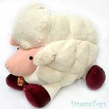 《購犀利》台灣製造-趴姿綿綿羊絨毛娃娃/填充娃娃-附可愛領結與鈴鐺