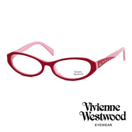 Vivienne Westwood 光學鏡框★復古晶鑽造型框★英倫龐克雙色板料/平光鏡框(粉彩紅) VW193 03