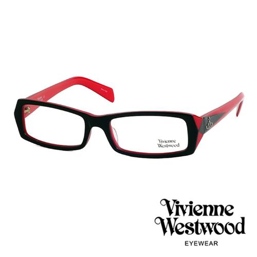 Vivienne Westwood 光學鏡框~ 方框~英倫龐克雙色板料平光鏡框^(紅黑色^
