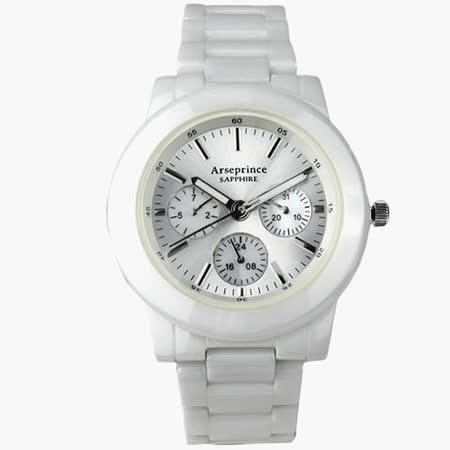 【Arseprince】耀眼未來高精密三眼中性錶-白