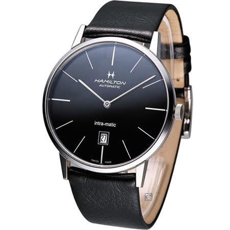 Hamilton Intra-Matic 優雅復刻機械腕錶(H38755731)黑面 黑皮