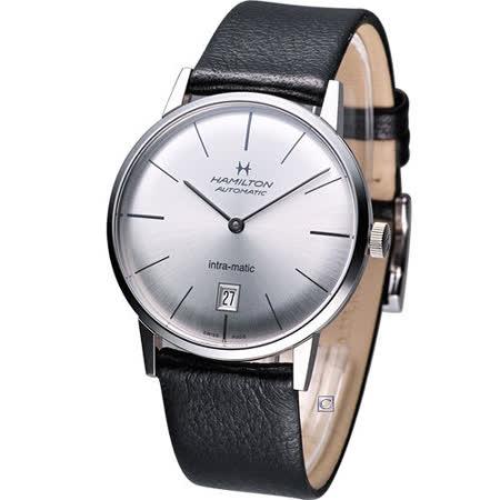 Hamilton Intra-Matic 優雅復刻機械腕錶(H38455751)銀白 黑皮