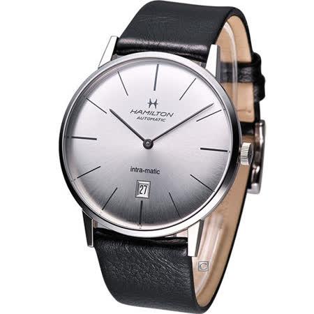 Hamilton Intra-Matic 優雅復刻機械腕錶(H38755751)銀白
