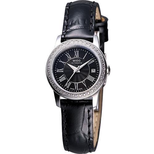 MIDO Baroncelli III Lady 奢華真鑽機械腕錶(M0100071605320)-黑/皮帶