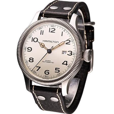 HAMILTON Khaki 航空自動機械腕錶(H60515593)咖啡色皮