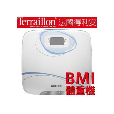 【Terraillon】和樂家大鏡面玻璃BMI體重機-羽毛白
