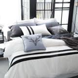 OLIVIA 《 素色玩色系列 黑白配》加大雙人兩用被套床包四件組