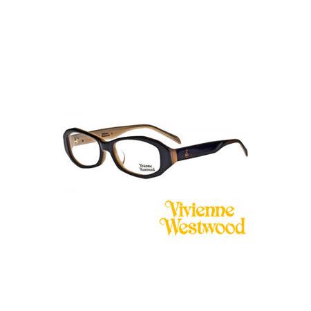Vivienne Westwood 光學鏡框★雙色板料不規則造型框★復古粗框 平光鏡框(琥珀黑) VW208 03
