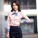 【韓系女衫】OL修身百搭休閒長袖襯衫(有較大尺碼)