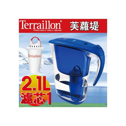【Terraillon】芙蘿堤濾水壺2.1L濾水壺-深海藍(附濾芯X1)
