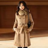 【韓系女衫】高檔氣質時尚毛領雙排扣修身保暖大衣