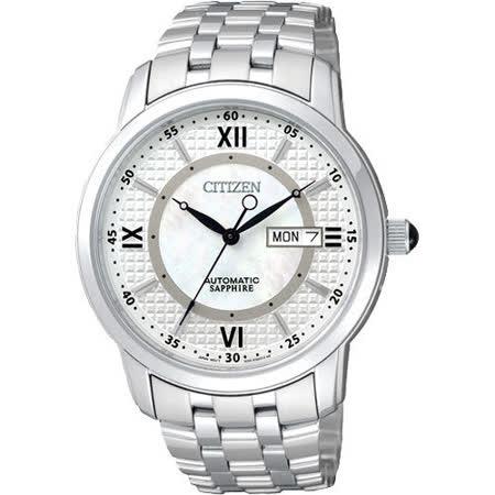 CITIZEN 商務型男藍寶石機械腕錶(NH8300-57A)-銀