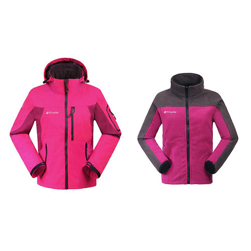 PUSH!機能服飾 防水 防風 透氣 保暖 外套防風雨大衣(女款) 兩件套
