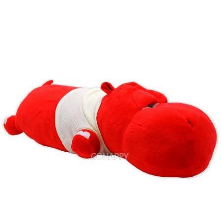 頑皮動物園【紅河馬】長形小抱枕/玩偶