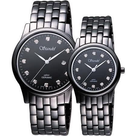 Standel 詩丹麗真鑽時尚陶瓷對錶-黑/38+30mm 9S0132SD+9S0122SD