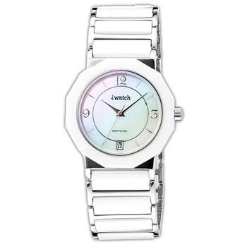 iwatch 歐風時尚陶瓷男錶(白)