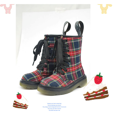 (購物車)魔法Baby~英國風情飾綁帶高筒靴(紅藍格紋)~時尚設計童鞋~sh0385