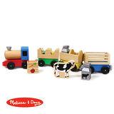 美國 Melissa & Doug 原木交通工具組 – 木製農場聯結火車組